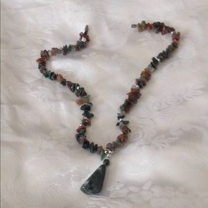 Green jade, orange and brown stone necklace.